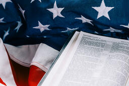 Open Bible on an American Flag  image 9