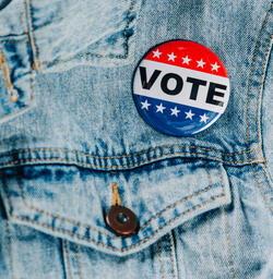 Vote Pin on a Denim Jacket  image 4