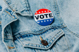 Vote Pin on a Denim Jacket  image 6