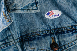Vote Pin on a Denim Jacket  image 3