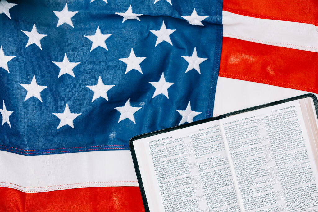 Open Bible on the American Flag large preview
