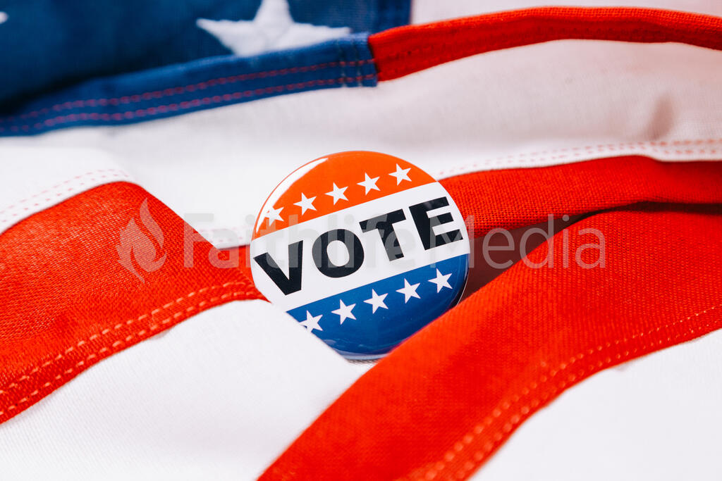 Vote Pin on an American Flag large preview