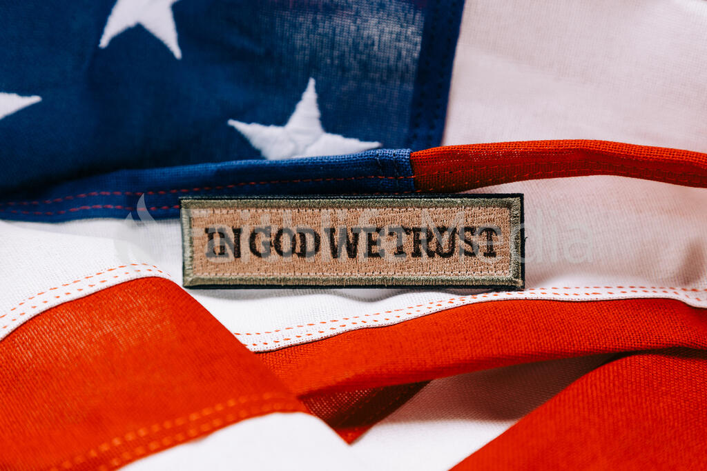 In God We Trust Patch on an American Flag large preview