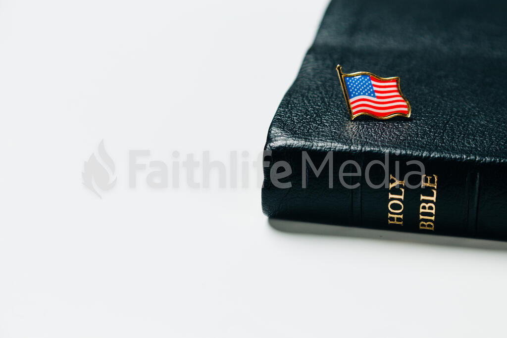 American Flag Enamel Pin on the Bible large preview