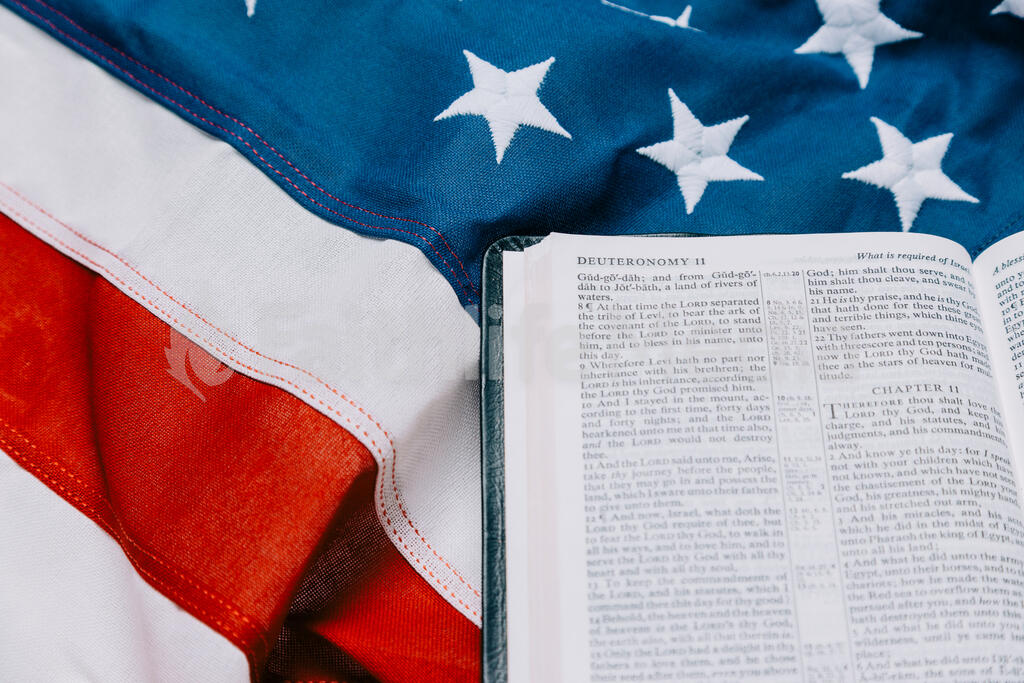 Open Bible on an American Flag large preview