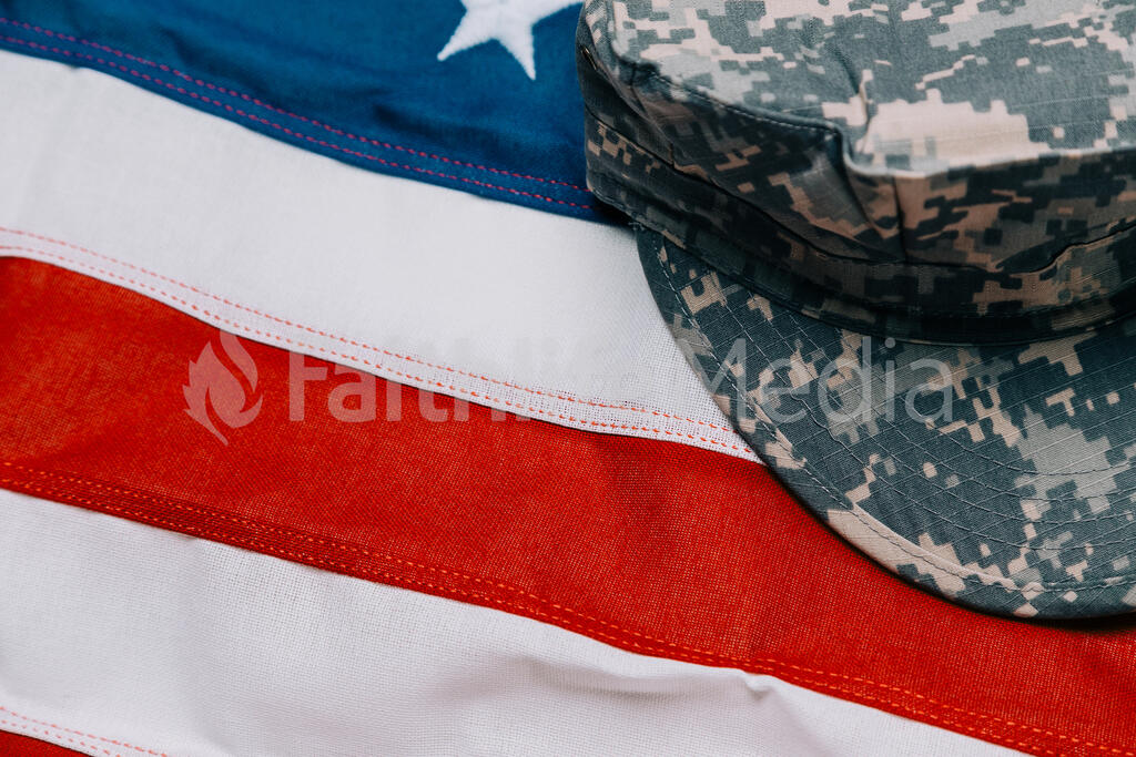 Military Hat on an American Flag large preview