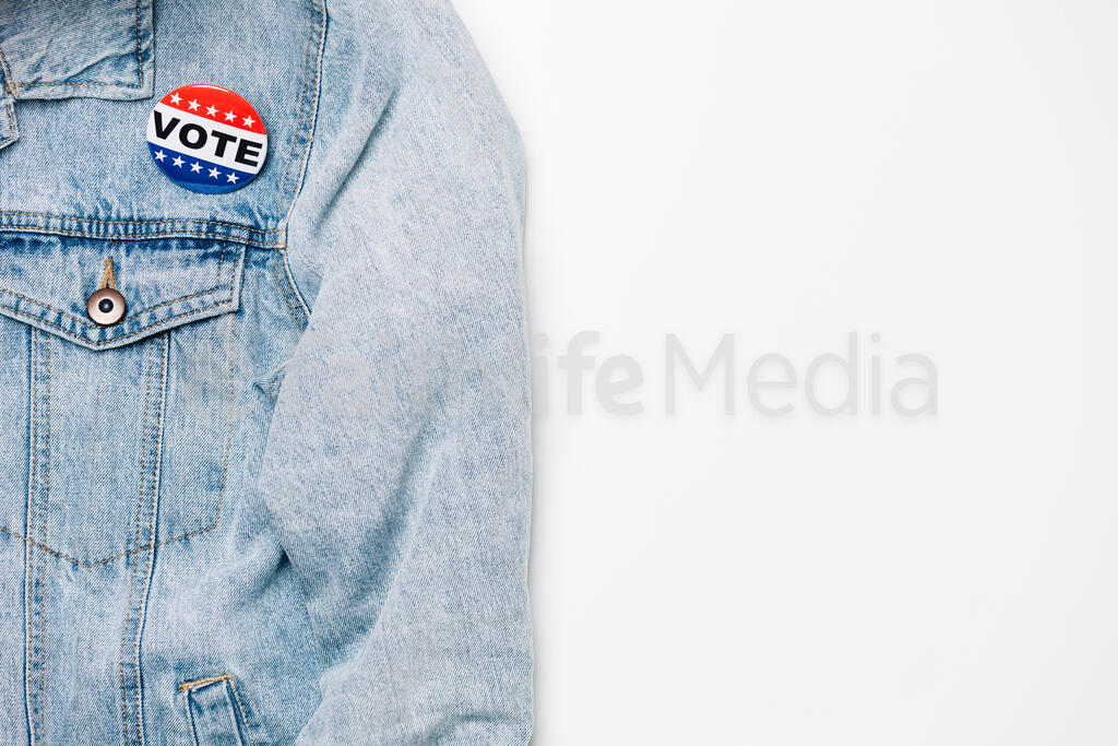 Vote Pin on a Denim Jacket large preview