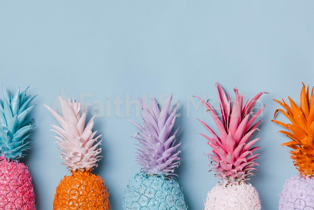 Colorful Pineapple on Blue Background large preview