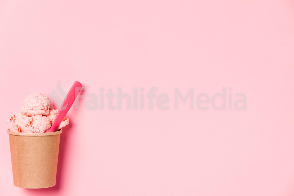 Carton of Strawberry Ice Cream with a Pink Spoon large preview