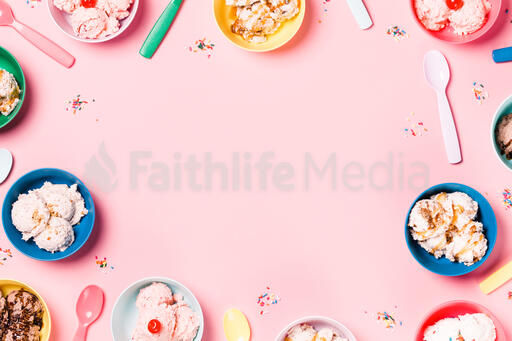 Bowls of Ice Cream and Spoons on Pink Background