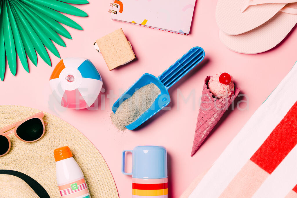 Beach Day Supplies on Pink Background large preview