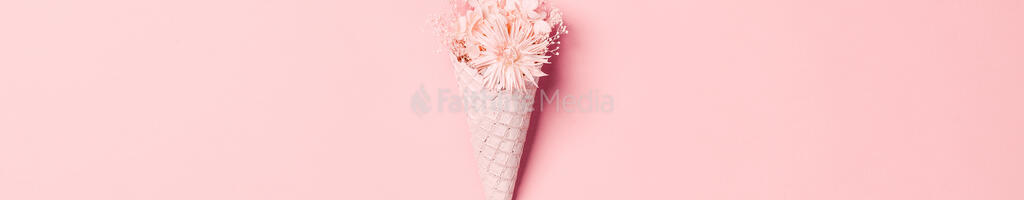 Pink Ice Cream Cone Filled with Flowers large preview