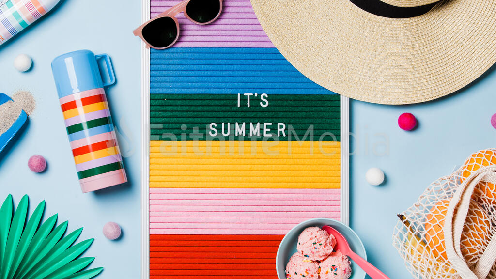 It's Summer Letter Board with Beach Day Supplies on Blue Background large preview