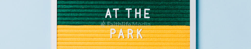 Meet Us at the Park Letter Board on Blue Background large preview