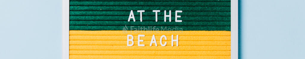 Meet Us at the Beach Letter Board on Blue Background large preview