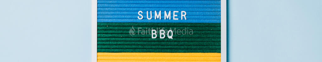 Summer BBQ Letter Board on Blue Background large preview
