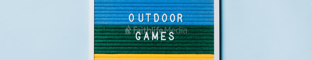 Outdoor Games Letter Board on Blue Background large preview