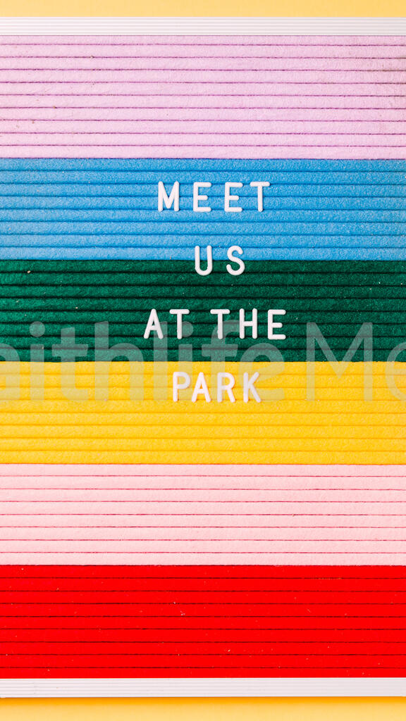 Meet Us at the Park Letter Board on Yellow Background large preview