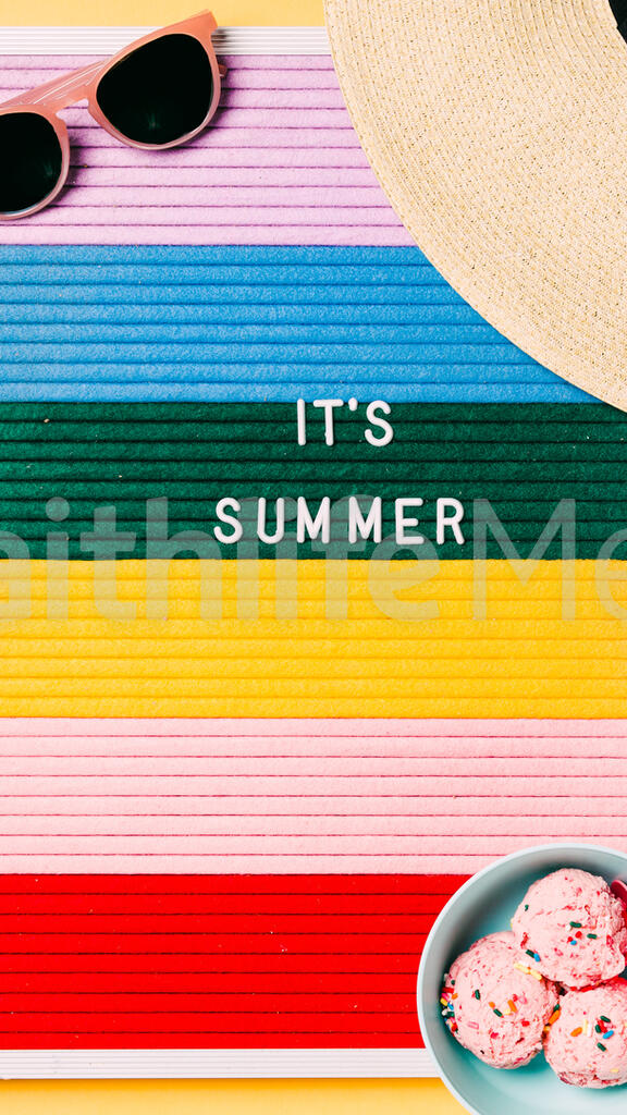 It's Summer Letter Board with Beach Day Supplies on Yellow Background large preview