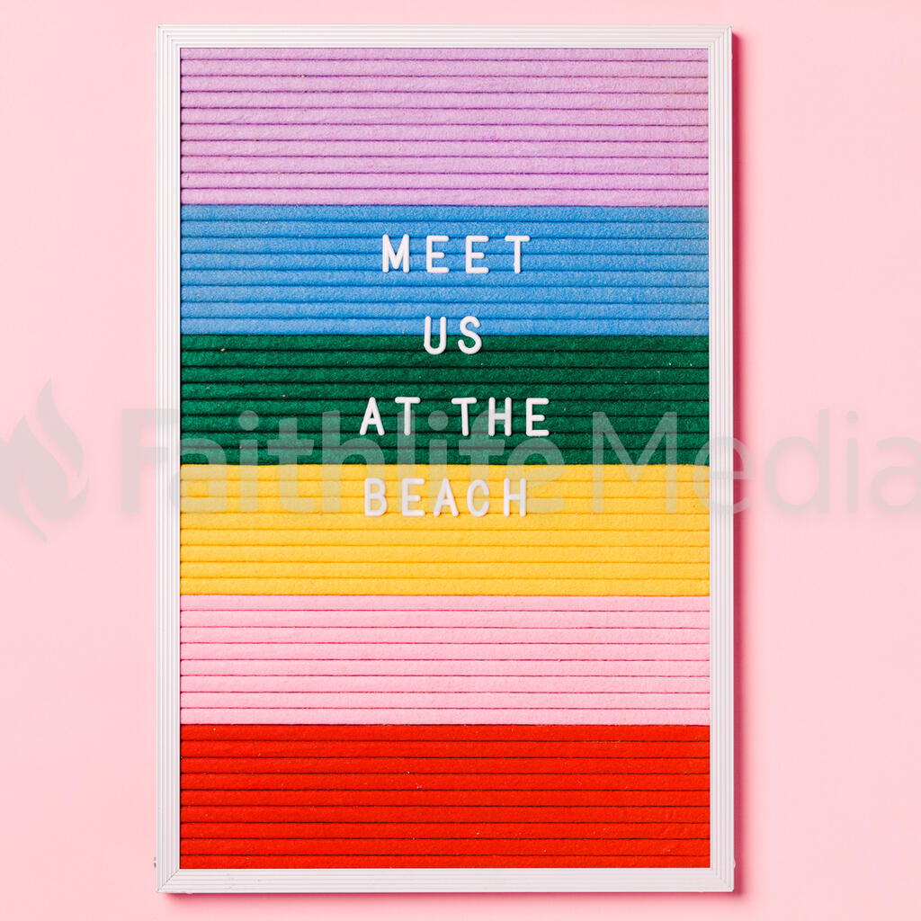 Meet Us at the Beach Letter Board on Pink Background large preview