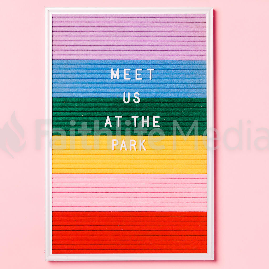 Meet Us at the Park Letter Board on Pink Background large preview