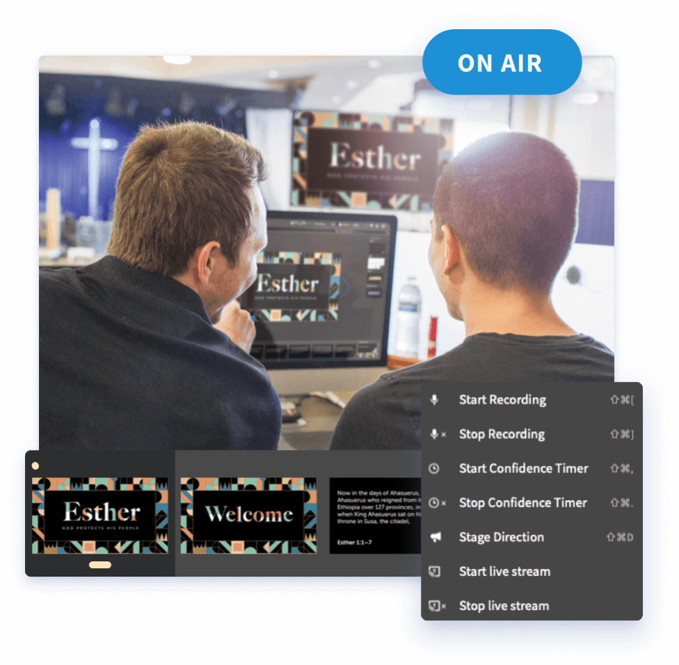 A team of two men sit in the sound booth during a church service. They're 'On Air' with Faithlife Proclaim Church Presentation Software, and their computer is showing several handy options such as starting or stopping a confidence timer, recording, or live stream.