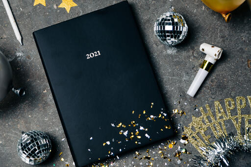 2021 Notebook with New Year's Eve Party Items