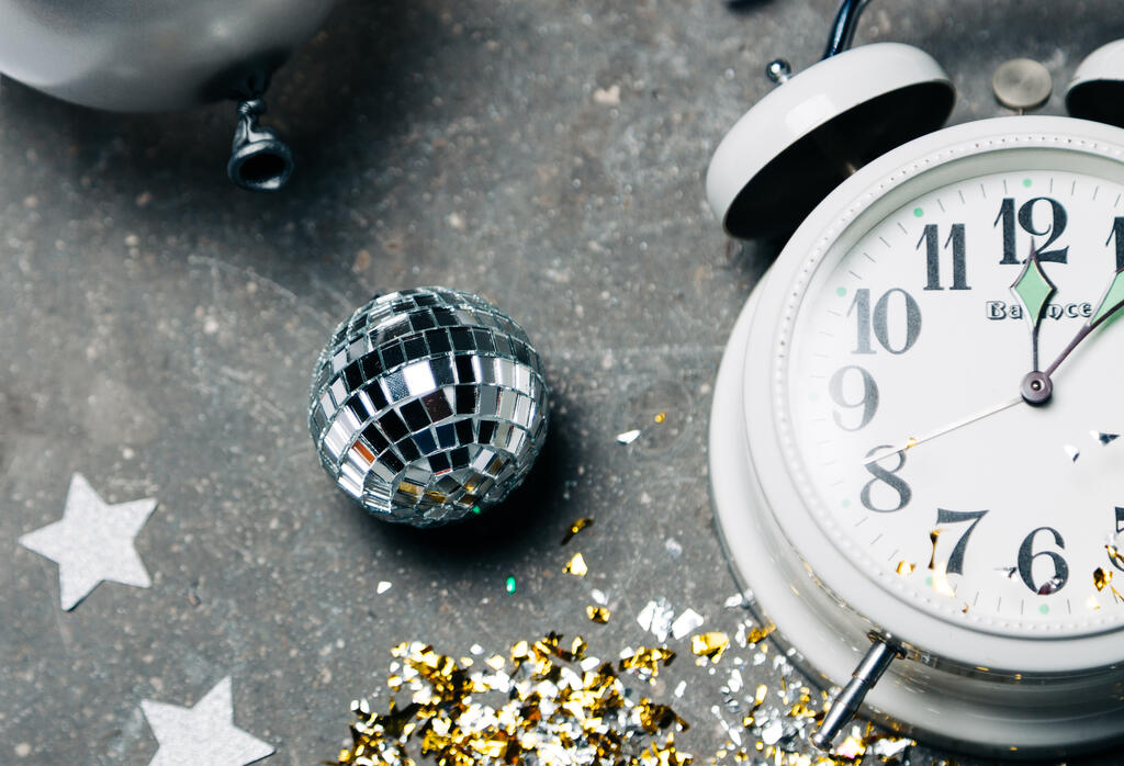 Clock Striking Midnight on New Year's large preview
