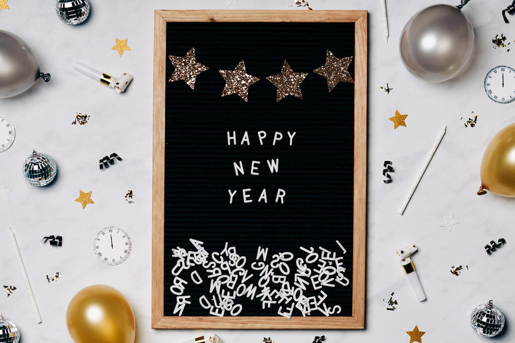 Happy New Year Letter Board with New Year's Party Items large preview