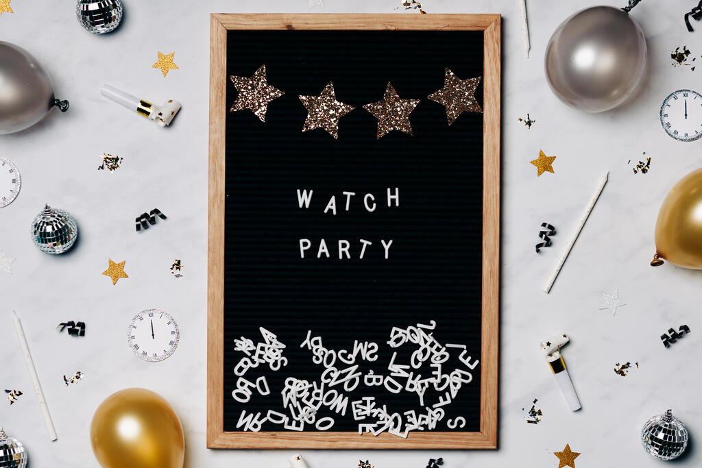 Watch Party Letter Board with New Year's Party Items large preview