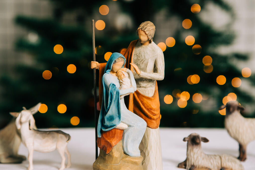 Nativity Scene in Front of the Christmas Tree large preview