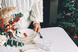 Woman Setting the Table for Christmas Dinner  image 1