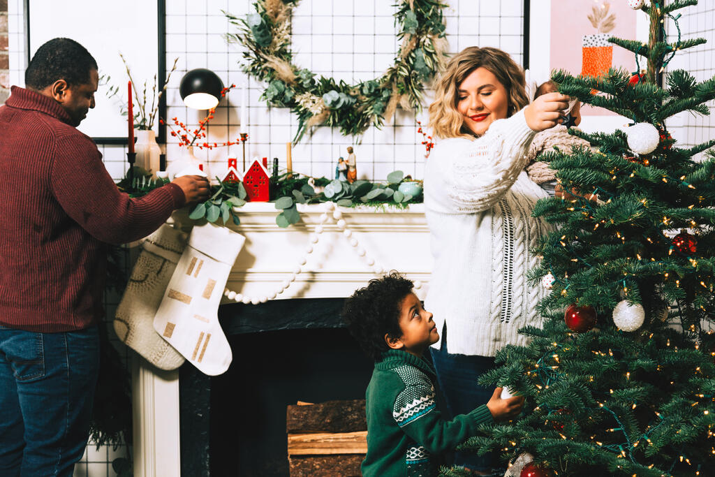 Family Decorating for Christmas Together large preview