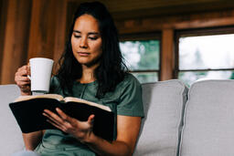 Woman Reading the Bible and Drinking Coffee  image 2