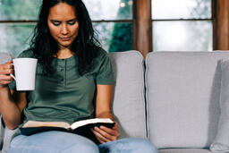 Woman Reading the Bible and Drinking Coffee  image 3