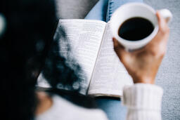 Woman Reading the Bible with a Cup of Coffee  image 3
