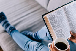 Woman Reading the Bible with a Cup of Coffee  image 2