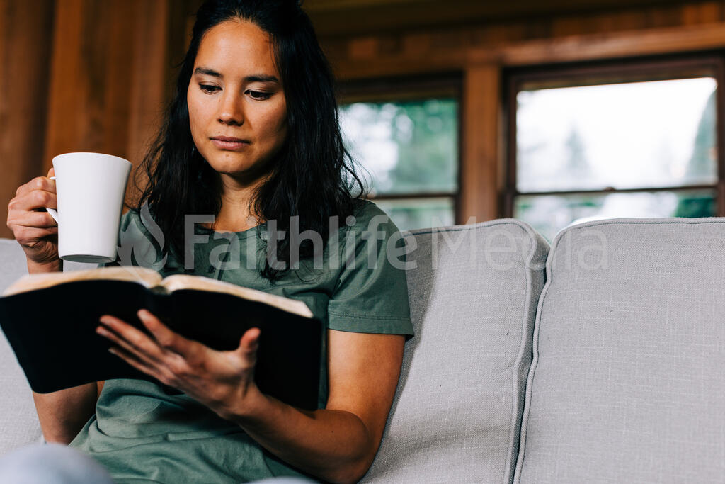 Woman Reading the Bible and Drinking Coffee large preview