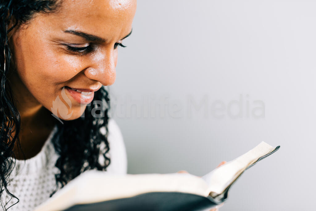 Woman Reading the Bible in Bed large preview