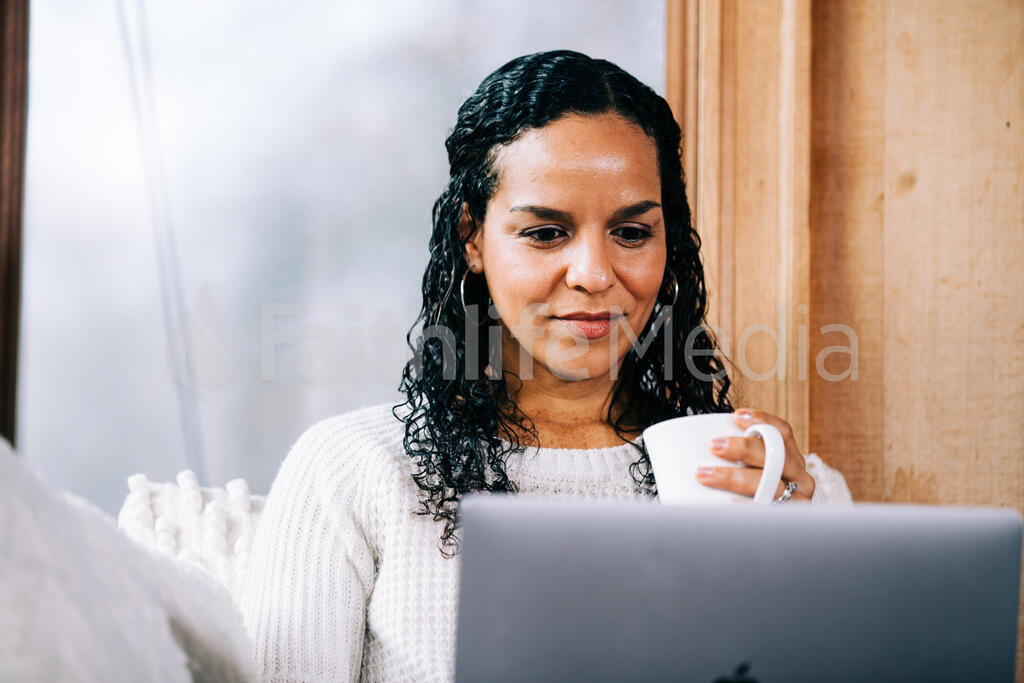 Woman Working on a Laptop large preview