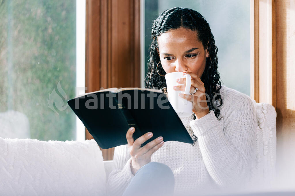 Woman Reading the Bible with a Cup of Coffee large preview