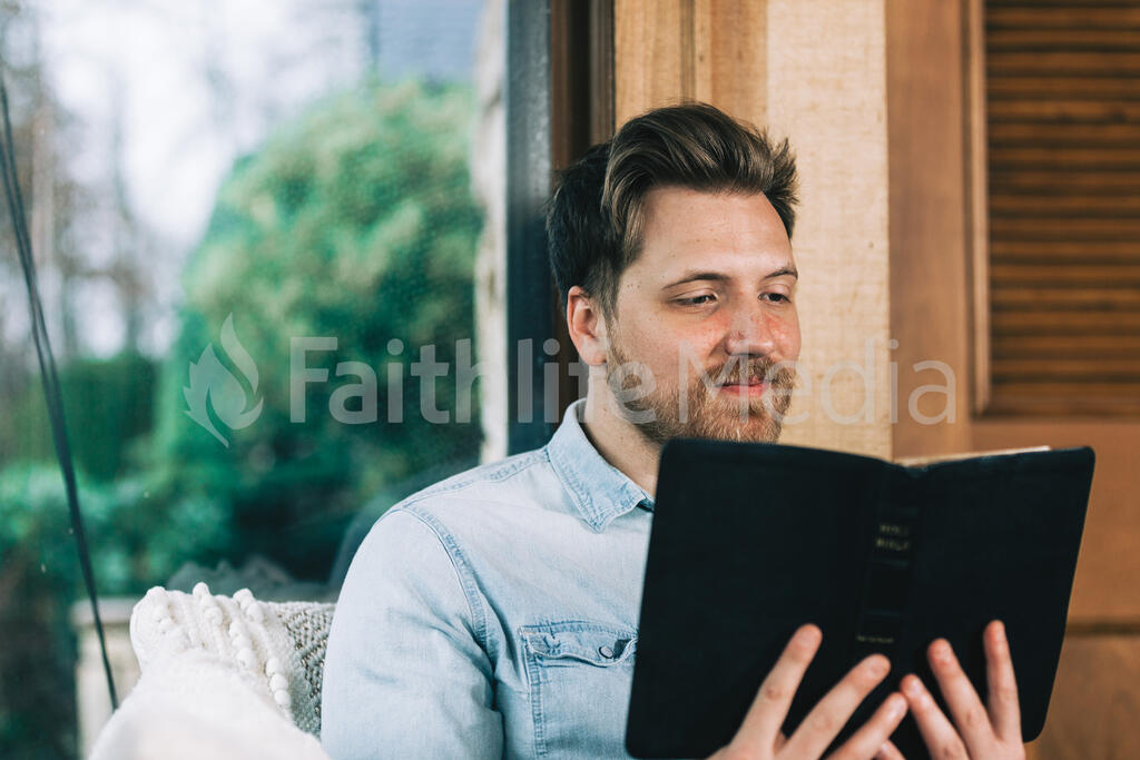 Man Reading the Bible large preview