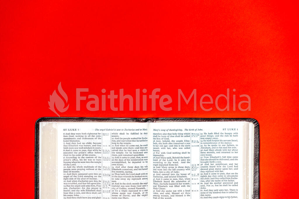 Open Bible on Red Background large preview