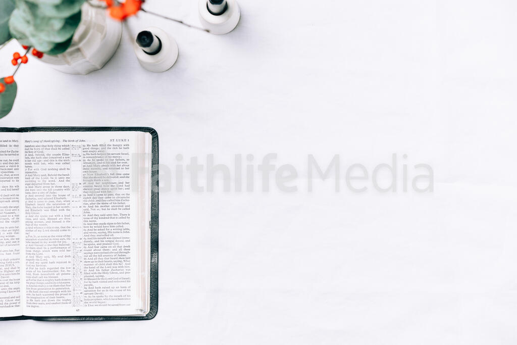 Open Bible with Christmas Florals large preview