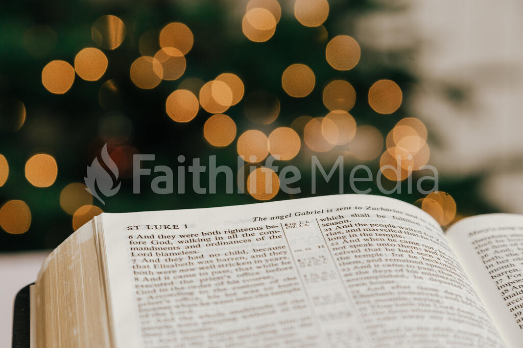 Open Bible in Front of the Christmas Tree large preview