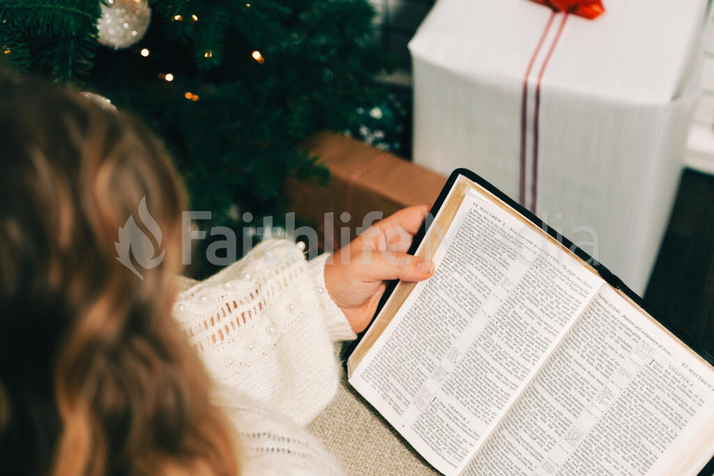 Woman Reading the Bible in Front of the Christmas Tree large preview