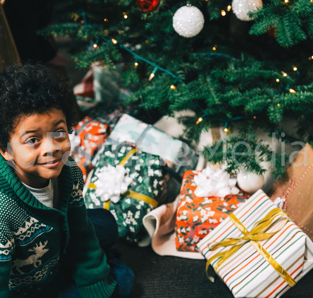 Boy Sitting in Front of the Christmas Tree large preview