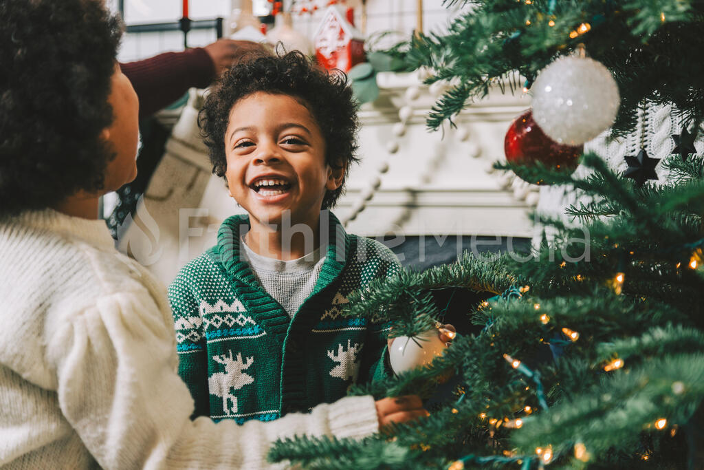 Kids Decorating the Christmas Tree Together large preview