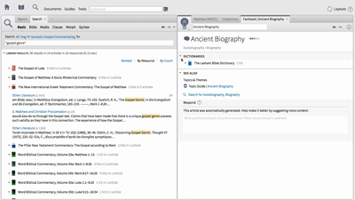 Creating Collections and Using Factbook to Search Gospels