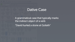 Introducing the Dative Case